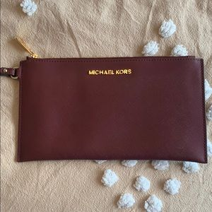 Large Michael Kors Burgundy Wristlet